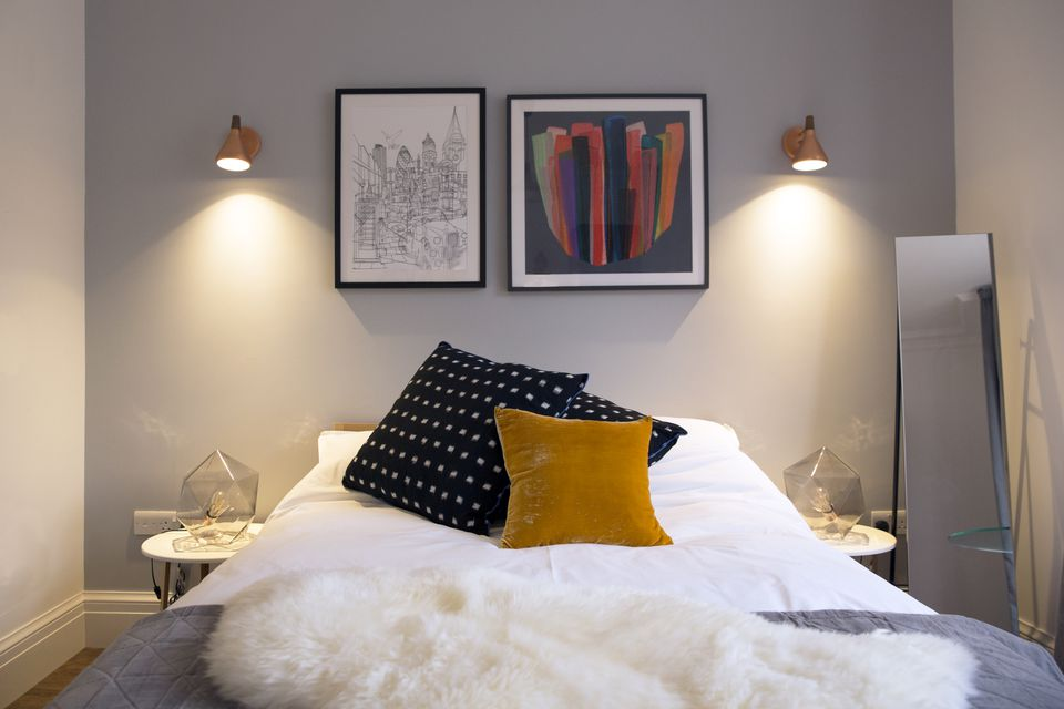 bedroom, interior design, scandi, bed, cushion