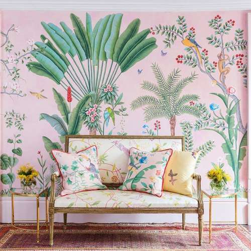 tropical interiors, tropical wallpaper, pink wallpaper, tropical room, leaf print, printed wallpaper, outdoor interior inside, affordable design