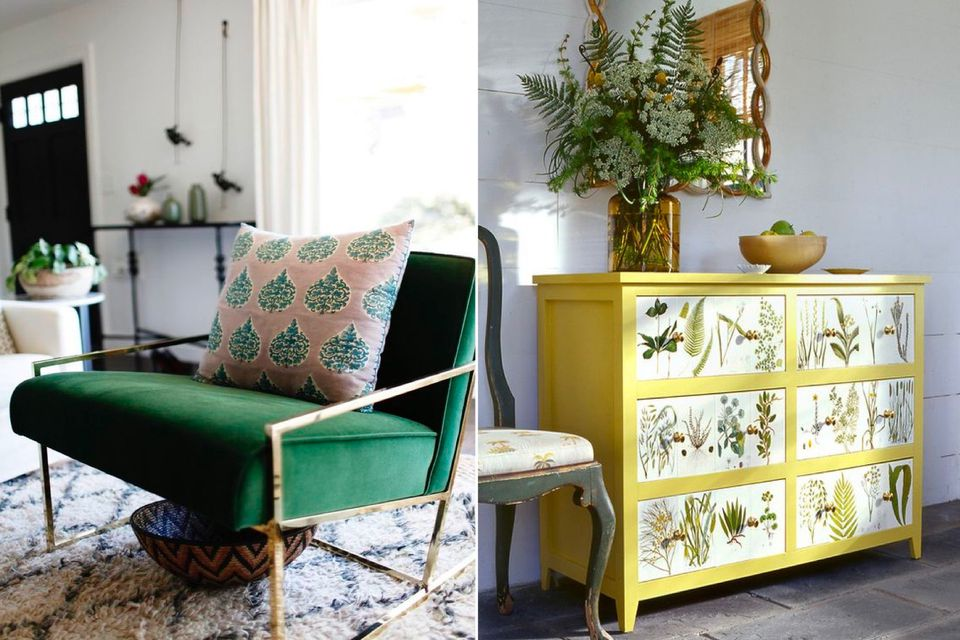 statement pieces, tropical statement, tropical interior, affordable design, outdoor interior inside, green chair, yellow cabinet, prints