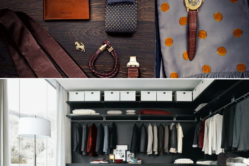 luxury closet menswear men wardrobe organise accessories