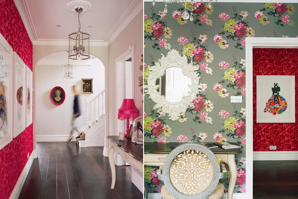 Interior-design-floral-Wallpaper-red-wallpaper-print
