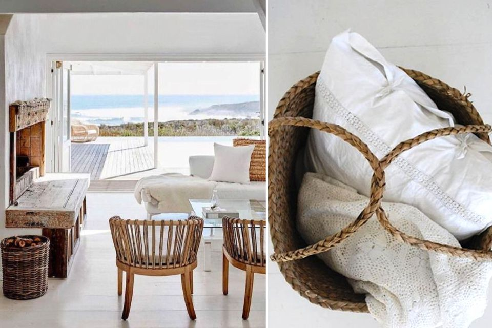 living room ideas, beach house living room, woven basket, wood details, beach house interior design ideas, interior design, beach house decor, beachy interiors, beach house inspiration, decorate a beach house