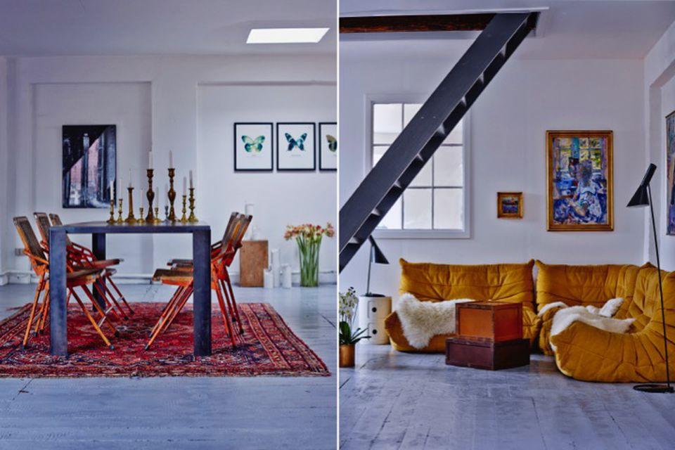 Sarah Sheikh, interior design, online interior design, home tours, yellow sofa, living room, dining room, rugs, vintage