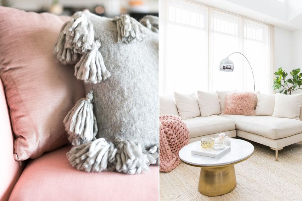 millennial pink living room, decorate with millennial pink, how to, interior design