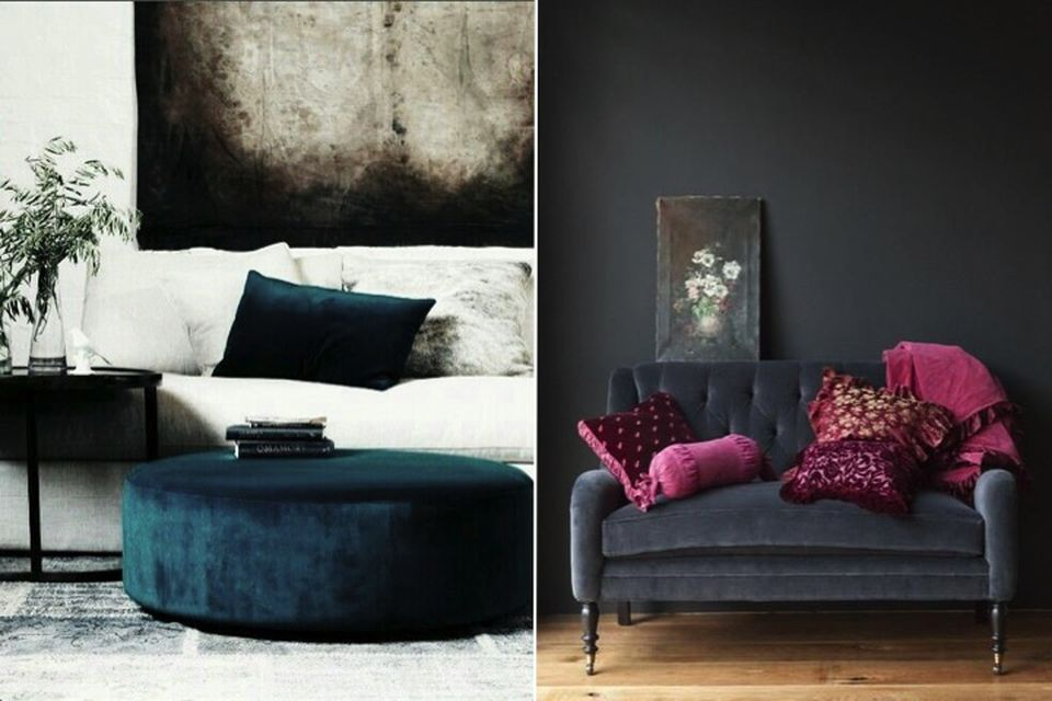 Fall interiors, Summer to fall, soft furnishings, velvet cushions