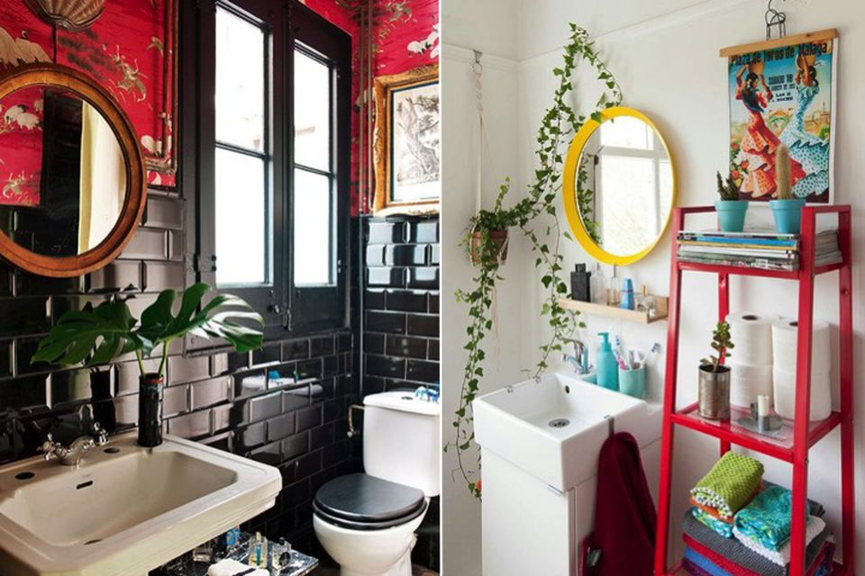 Red and yellow, Trend alert, hot trend, reds, red bathrooms, red and gold, gold details