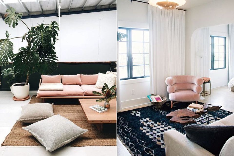 millennial pink living room, decorate with millennial pink, how to, interior design, grey walls