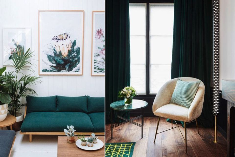 emerald green, designer tips, colour tips, wallpaper, neutral tones, emerald green and neutral tones