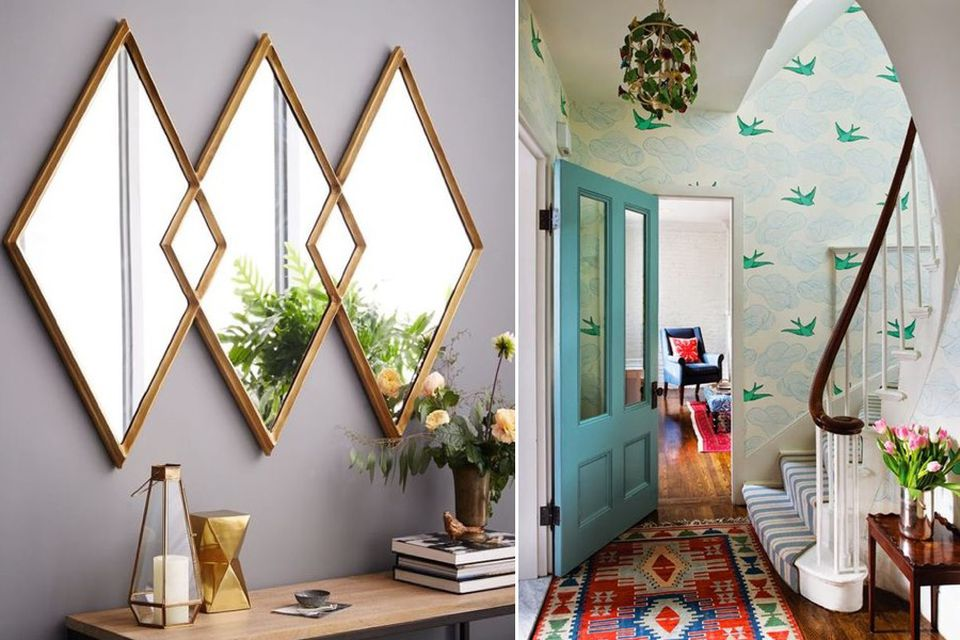 hallway, wallpaper, decor, decorate hallway, mirrors, how to decorate, obsessed with decor