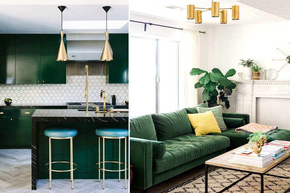 green-interior-design-ideas, interior-design-trends, green-living-room, green-velvet