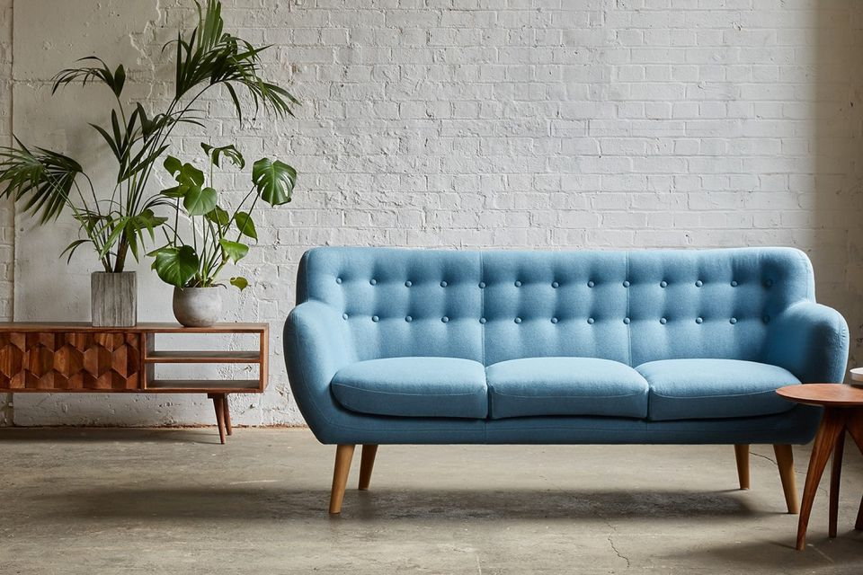 Swoon editions couch, blue sofa, how to buy the perfect sofa